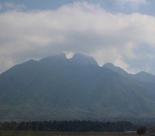 view of mt. sabinyo volcanoes park rwanda
