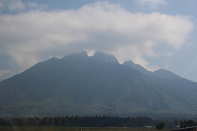 view of mt. sabinyo volcanoes park rwanda
